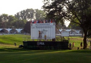 2008 View of Scoreboard on 18th green from VIP Chalet
