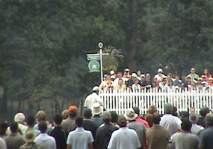 View of Tiger Woods on 1st green from the VIP Chalet