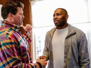 Celebrity guests Mark Schlereth (left) of ESPN and Seahawk great Shaun Alexander (right) talking about the big game.