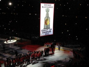 Banner Raising Ceremony for the Blackhawks